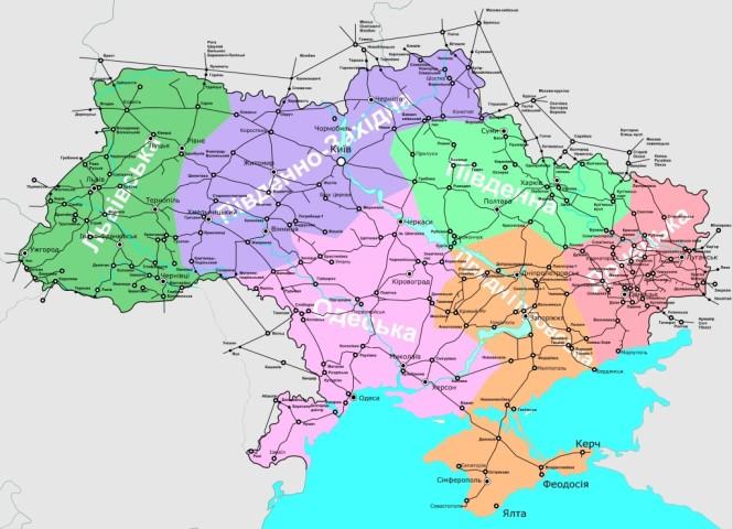 Схема железных дорог украины